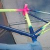 Several fluorescent pigments on a bike frame