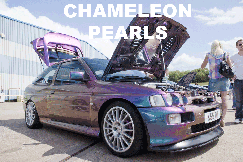 Colorshift Pearls in every multi-color option here. Works in paint, powder coat, even nail polish and shoe polish. Try our Chameleon Colors!