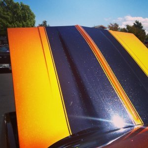 Hot Rod painted with Gold Shimmer Phantom Pearl over Shimmert Orange Copper Candy Pearl.
