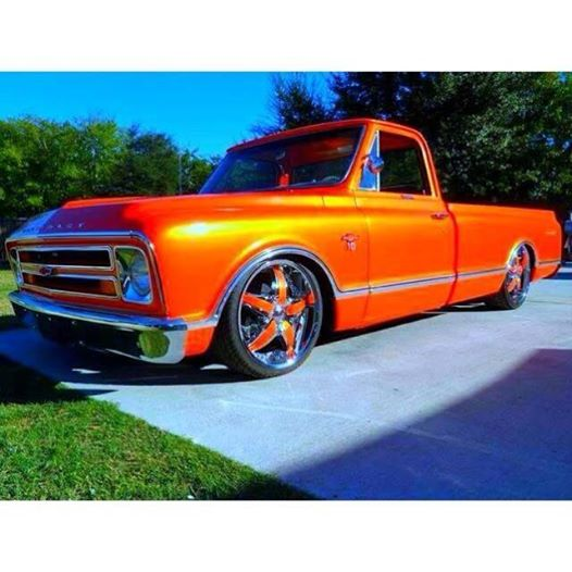 Blue Phantom Pearl on this orange Chevy Truck.
