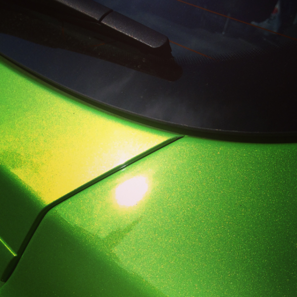 Our Extra Flashy Shimmer Gold Pearl paint powder over Lime Green Candy.