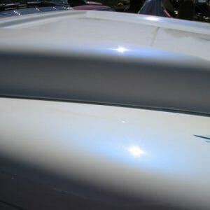 Blue Satin iridescent ghost pearls on White Hood