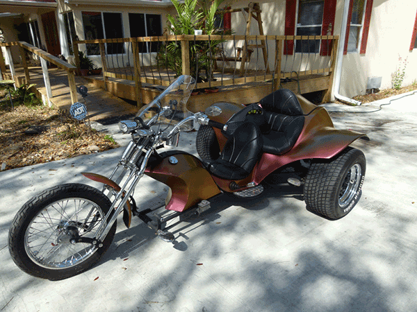This Custom Trike was painted with our 4739OR Chameleon paint pigment.