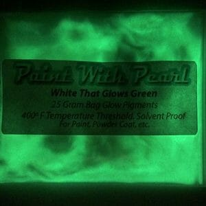 White Pigment that glows green at night. White to Green glow in the dark paint pigment.