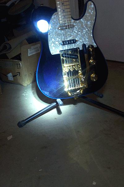 Violet Blue Phantom Pearl in stage lights for the Fender Telecaster.