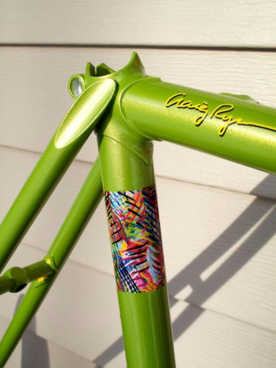 Gold Phantom Pearl on Lime Green base coat making this bicycle stand out above the rest.