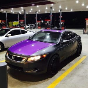 Dip Pearls or Purple Candy Metallic Paint Pigments on car hood.
