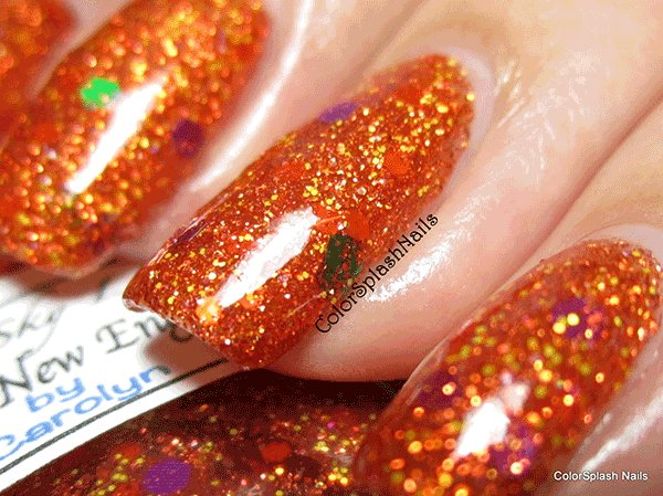 Orange Nails with Holographic Flake by Colorsplash custom nail polish color