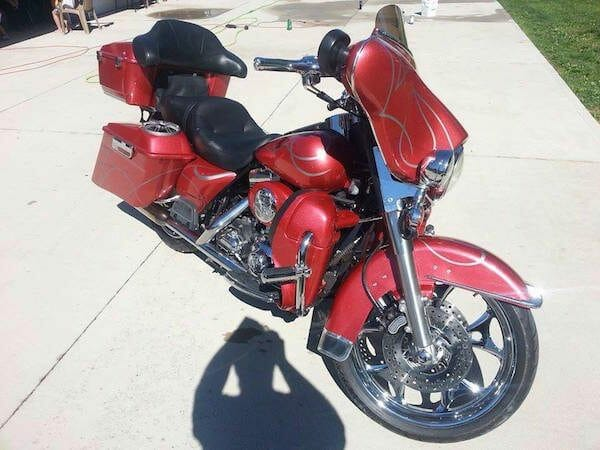 Wine Red Candy Crystal on Electra Glide.